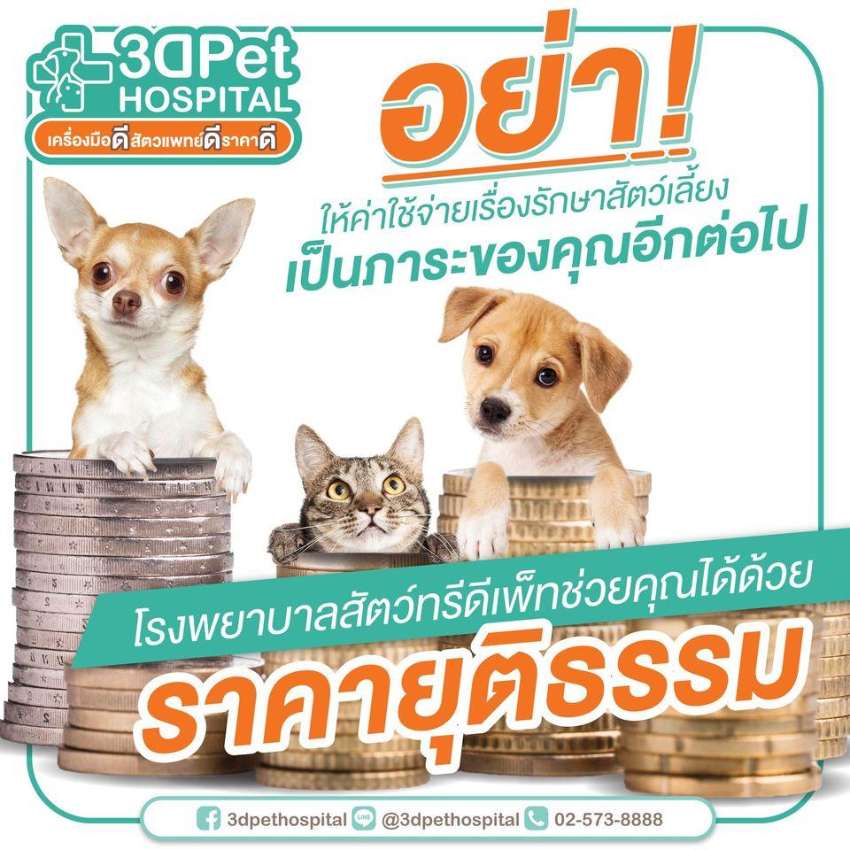 อย่าให้ค่าใช้จ่ายเรื่องรักษาสัตว์เลี้ยง เป็นภาระของคุณอีกต่อไป 【โรงพยบาลสัตว์3DPet】